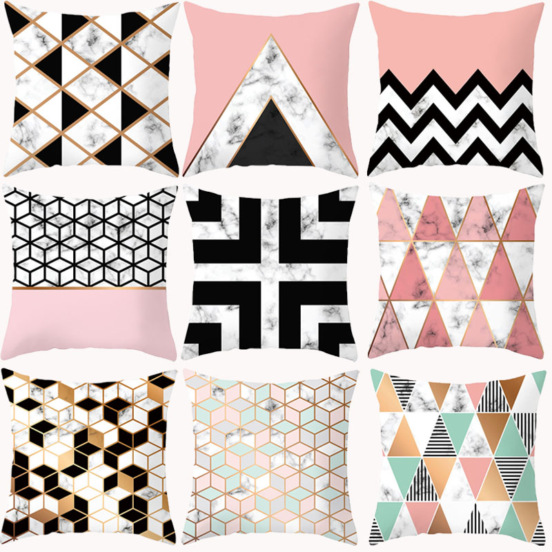 Pink Geometric Pillowcase Decorative Pillows Cushion Cover Polyester Nordic Marble Black Home Decor Cushions Pillowcover 45*45