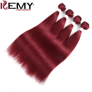 Image 4 - 99J/Burgundy Red Color Brazilian Straight Human Hair Bundles With Frontal 13x4 KEMY Pre Colored 3 Bundles With Closure Non Remy