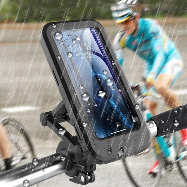 Waterproof Bicycle Phone Holder Universal Bike Motorcycle Handlebar Clip Stand Mount Bracket For iPhone Huawei Xiaomi IP68