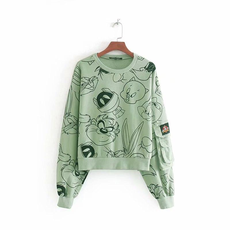 2019 New Women Sweet Cartoon Character Print Casual Sweatershirts Ladies Autumn Long Sleeve Pocket Patch Basic Hoodies Tops H083