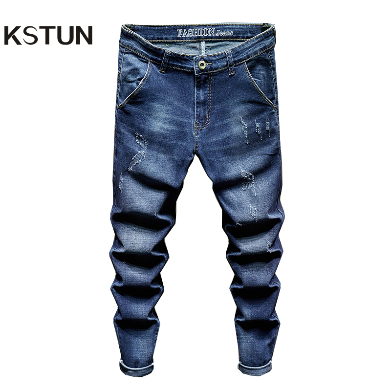 KSTUN Men Jeans Slim Fit Elasticity Blue Fashion Pockets Letters Casual Denim Pants Men's Clothing Male Long Trousers Wholesale