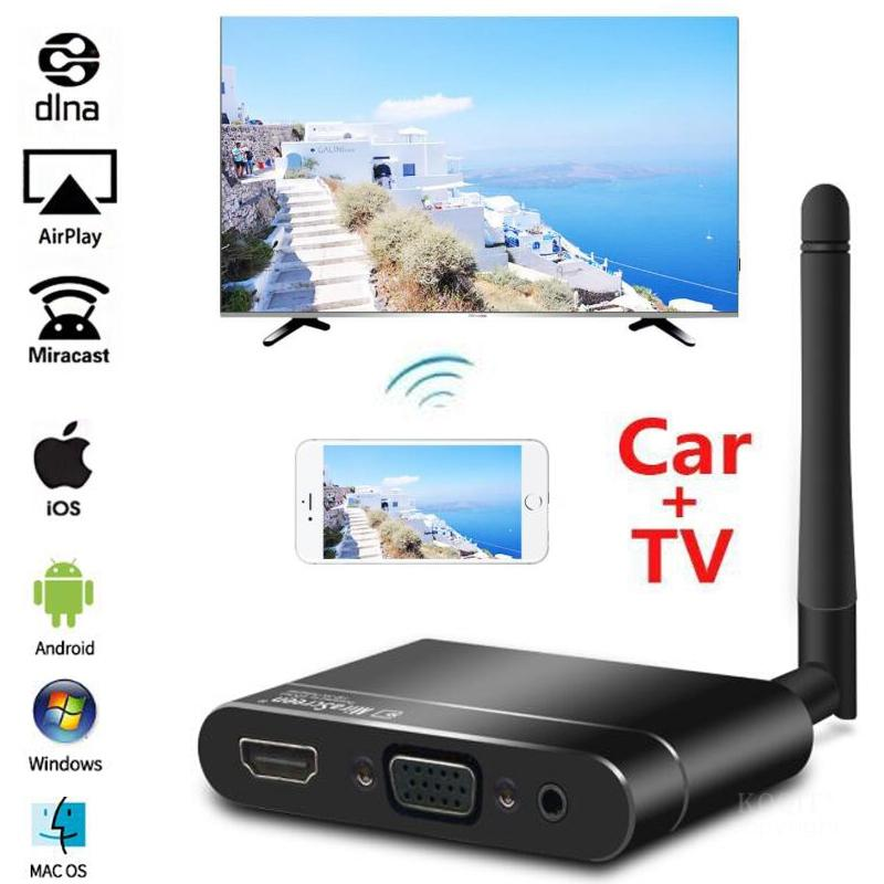 Mirascreen X6W Car Wireless HDMI + VGA + RCA AV Android Tv Stick Miracast Airplay Mirror Screen Wifi Dongle For IOS Phone To TV