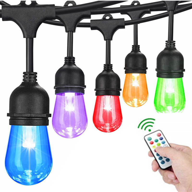 15M qualité commerciale LED chaîne lumières S14 LED rétro Edison Filament ampoule rue guirlande mariage vacances éclairage - 1