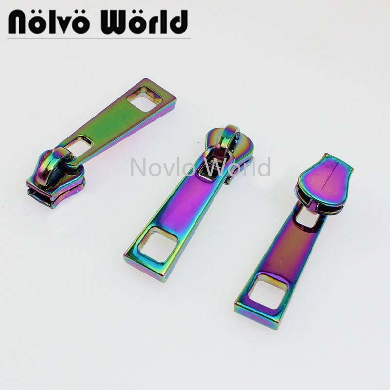 6 Pieces, 33*10mm, Rainbow Metal Zipper Slider 5# Resin Tooth Puller Square Hole Pull Tab For Clothing Bag Diy Accessories
