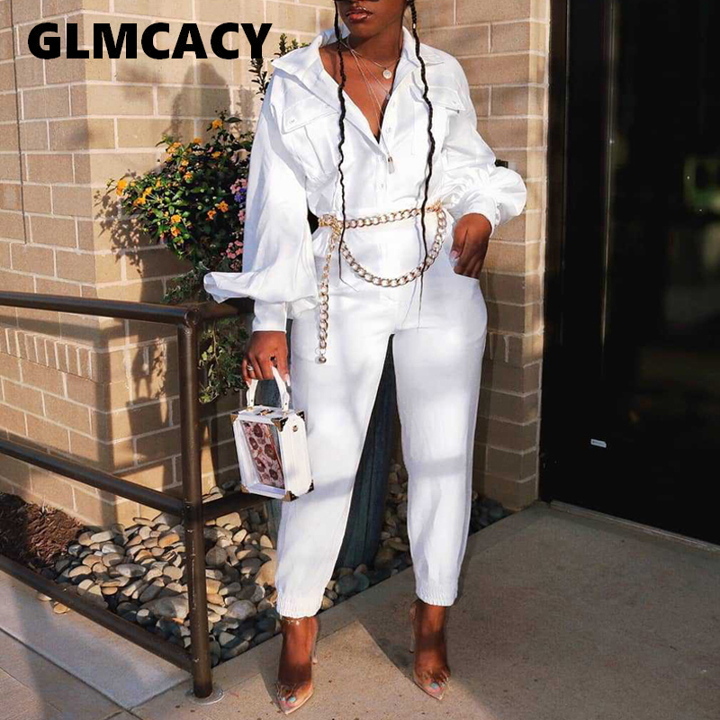 Women Solid Shirt Jumpsuit Sexy Turn Down Collar Plunging Deep V Neck Long Sleeve Wide Leg Jumpsuits Overalls