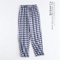 Pantalones de dormir de gasa de algodón para hombre y mujer, ropa inferior de pijama con lazo para el hogar, Primavera