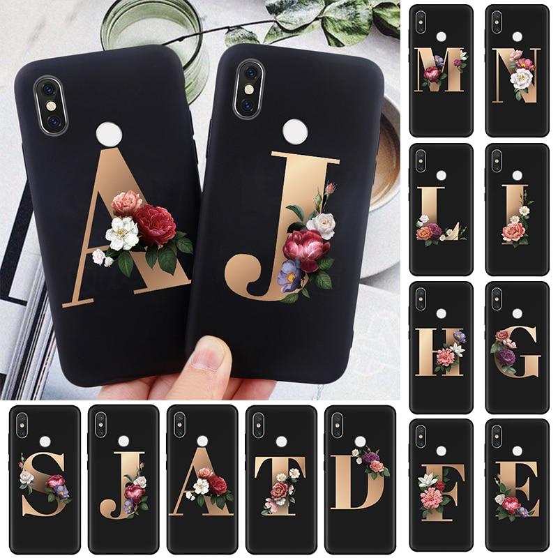 Floral Alphabet Print Soft TPU Case For Xiaomi Redmi K30 K20 S2 8A 7A Note 8 7 6 5 Pro 8T 5A 4X Mi A2 A1 5X 6X Back Covers Coque