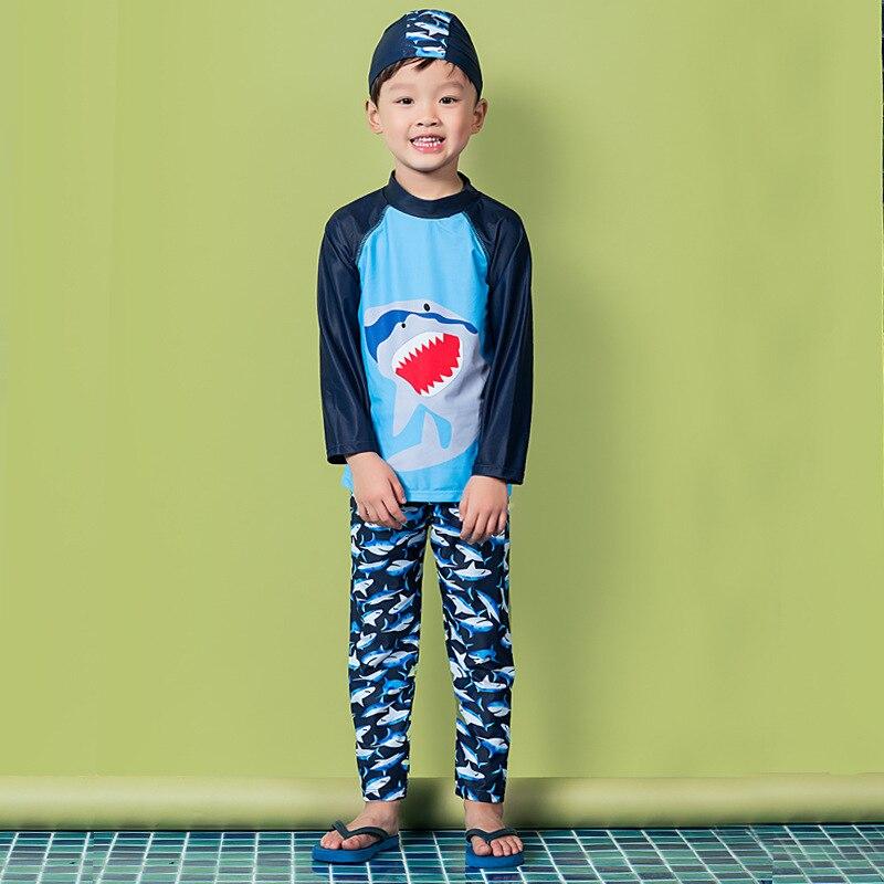 2018 BOY'S Male Baby Super Cute Hot Springs Split Type Bathing Suit Long Sleeve Trousers Sun-resistant Swimwear Olive Flower 201