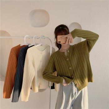 Crop Tops Women 2020 Vintage Harajuku Fashion Korean Cardigan V-Neck Loose Summer Knitted Sweater Short Cardigan Cute Cardigan buttoned v neck cardigan
