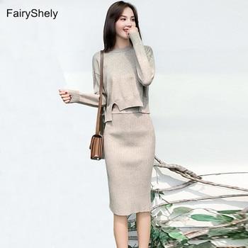 Fairyshey, suéter de punto, conjunto de falda Midi, 2 uds., suéter de dos piezas para mujer, conjunto Casual de manga larga, faldas de oficina, trajes