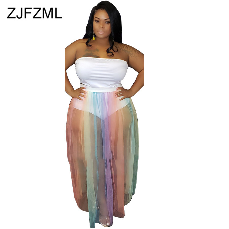 Sexy Plus Size Two Piece Matching Sets Women Rainbow Mesh Spliced See Through Dress+Panties Summer Off The Shoulder Beach Outfit