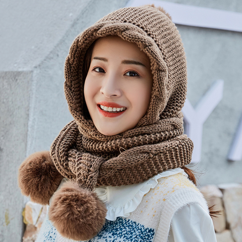 HT2798 Thick Warm Winter Hat Scarf Set Women Knitted Hat Scarf Ladies Winter Accessories Female Ear Flap Beanies Hat With Scarf