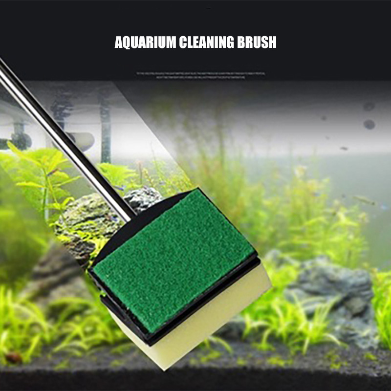 Double Face Sponge Cleaning Brush Long Steel Handle Aquarium Glass Brush Aquarium Accessories Fish Tank Tools