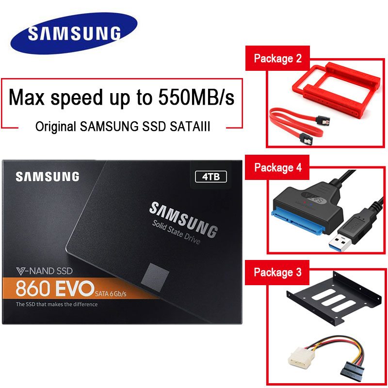 SAMSUNG <font><b>SSD</b></font> 860 EVO 4TB 2TB <font><b>1TB</b></font> Internal Solid State HDD Hard Drive SATA3 <font><b>2.5</b></font> inch Laptop Desktop PC disco duro <font><b>ssd</b></font> 250GB 500GB image