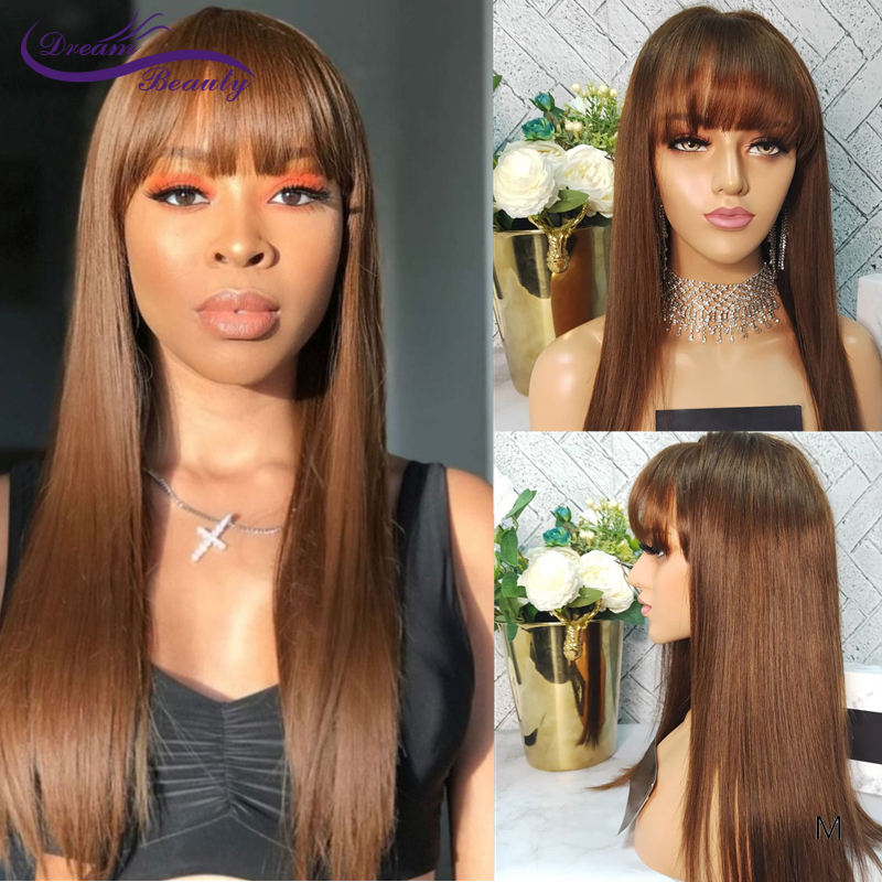 Straight With Bangs Lace Front Human Hair Wigs With Baby Hair 180Density Brown #5 Remy Meddle Ratio 13*4/13*6 Lace Wig For Women