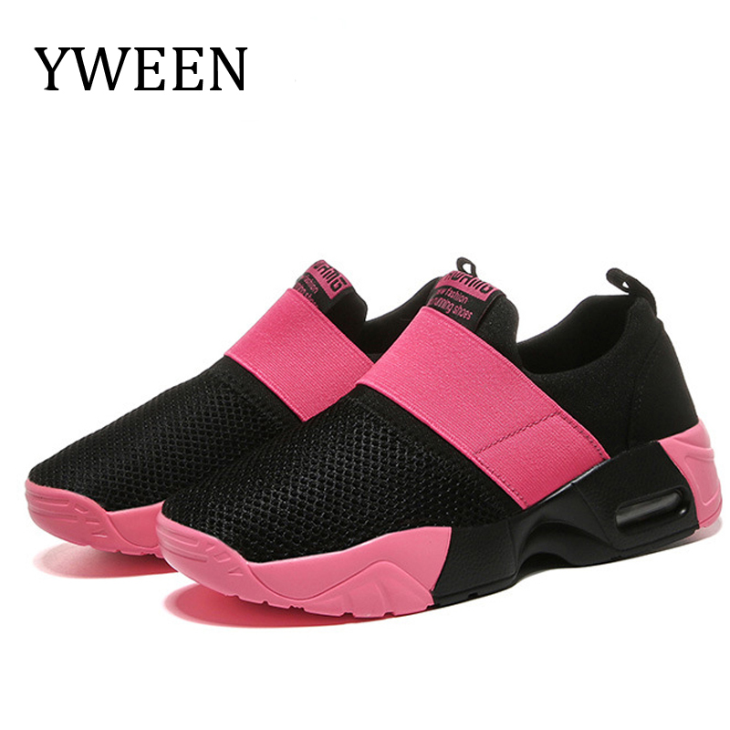 YWEEN Women Air Cushion Sports Shoes Outdoor Running Lace Up Ladies Shoes Woman Sneakers Tenis Feminino Casual Flats Plus Size