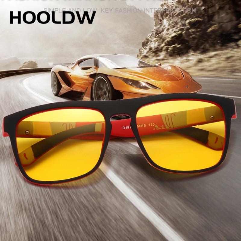 HOOLDW Night Vision Glasses Men Women Polarized Sunglasses Yellow Lens Anti-Glare Goggle Night Driving Sun glasses UV400 Eyewear