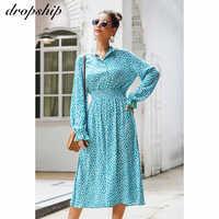 Dropship obcisła sukienka z długim rękawem 2020 letnie sukienki Maxi dla kobiet Casual eleganckie bawełniane sukienki damskie Casual Bohemian