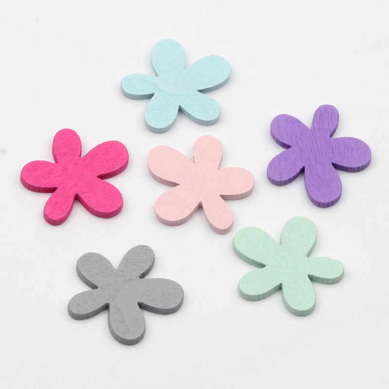 20pcs צבעוני עץ שזיף סיבית שבב פרח MDF רעיונות קרפט DIY בית תפאורה אבזר 26mm