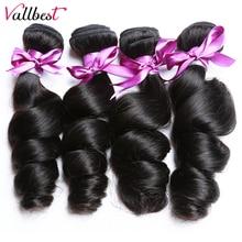 Vallbest бразильские волосы категории virgin волнистые пряди натуральные черные 1/3/4 шт./лот человеческие волосы пряди Волосы remy волос для наращивания