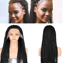 Braided Wigs for Black Women 26 inch Synthetic 13*4 Lace Front Wig Cornrow Braids Lace Frontal Wigs with Baby Hair Box Braid Wig
