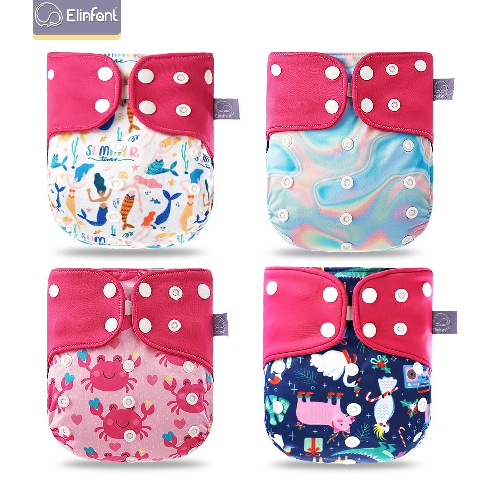 Elinfant Baby Cloth Diaper-Cover Nappy Pocket-Diaper Coffee Washable Mesh 4pcs/Set