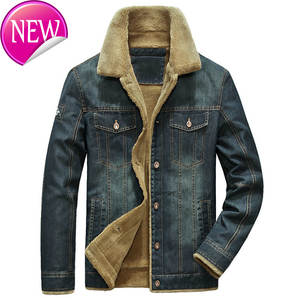 Jeans Jacket Cowboy-Coats Winter Clothing Outwear Thick Men's Warm Fur High-Quality 5XL