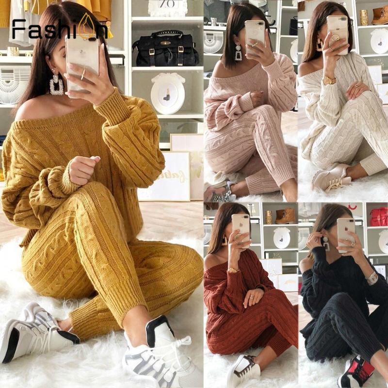 New Autumn Winter Tracksuit Women 2 Piece Set Sweater Top+Pants Knitted Suit O-Neck Knit Set Women Outwear 2 Piece Set For Women