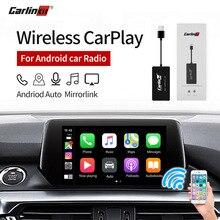 Carlinkit беспроводной Smart Link Apple CarPlay Dongle для Android навигационный плеер мини USB Carplay Stick с Android Авто черный
