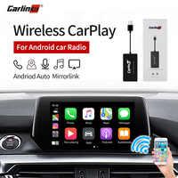 Carlinkit Intelligente Senza Fili di Collegamento di Apple Carplay Dongle per Android Lettore di Navigazione Mini Usb Carplay Stick con Android Auto Nero