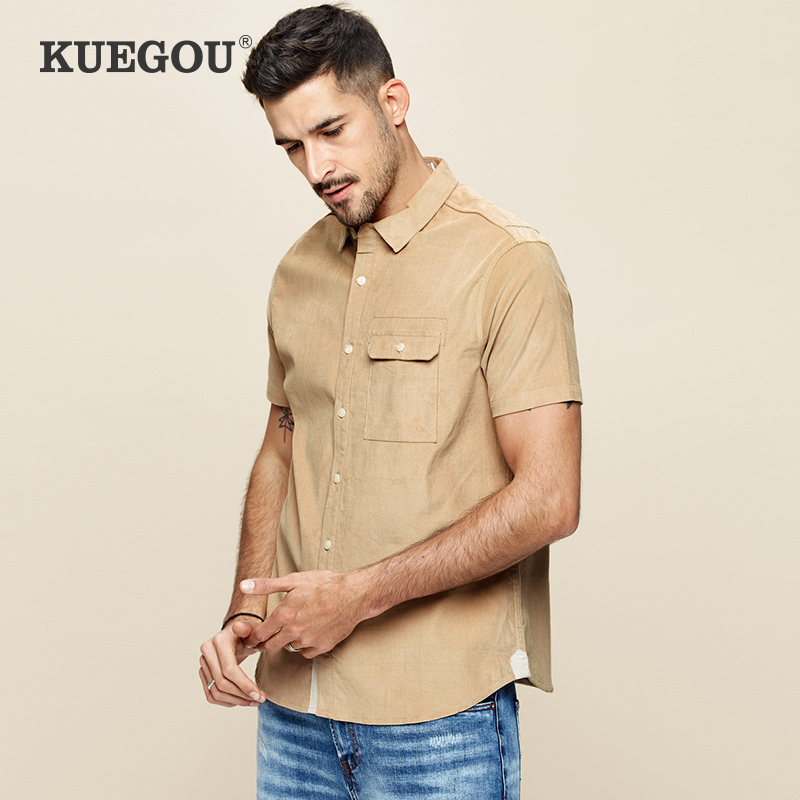 Kuegou Brand Men's Corduroy Short Sleeve Shirt Pure Color Male Cultivate One's Morality Leisure Shirt Summer Shirt BC-8813