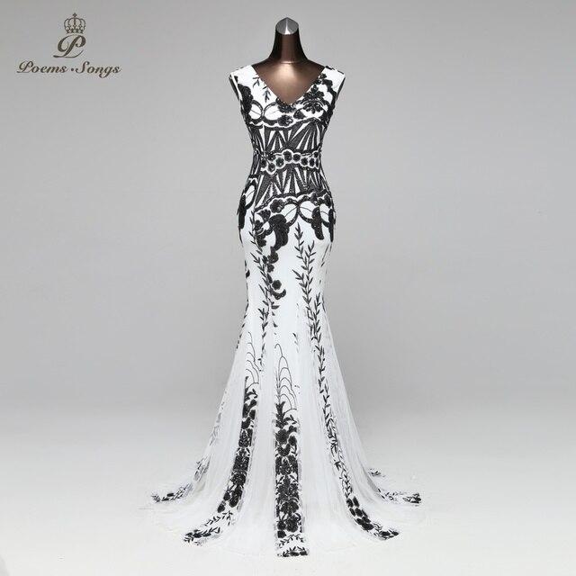 PoemsSongs V neck Mermaid Evening Dress prom gowns Formal Party dress vestido de festa Backless Elegant Sequin robe longue