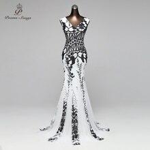 PoemsSongs v yaka Mermaid abiye balo abiye örgün parti elbise vestido de festa Backless zarif pullu robe longue