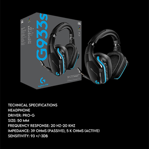 Image 5 - Logitech G933/G933s Wireless Gaming Headset 7.1 Surround Sound DTS Headphone Customizable RGB Compatible with PC Mobile Phone