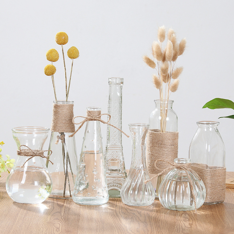 5.99US $ 25% OFF Dining table small vase hydroponic plant glass vase decoration rich bamboo creative...