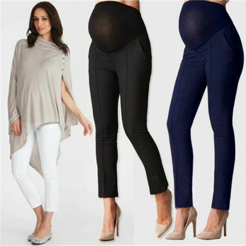 Pregnant Women Maternity Capris Casual Trousers Work Office Leggings Pants Cotton Solid Color