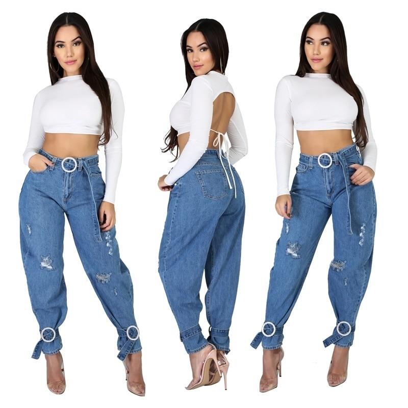 Sexy Solid Denim Women Pants Fashion Pocket Jeans Women Casual Streetwear Skinny Slim Autumn Trousers With Belt