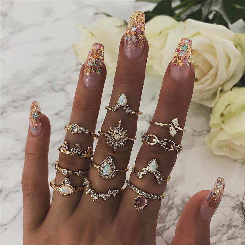 12 stks/set Bohemian Vintage Crown Water Druppels Sterren Geometrische Crystal Ring Set Vrouwen Charm Joint Ring Party Bruiloft Sieraden Gift