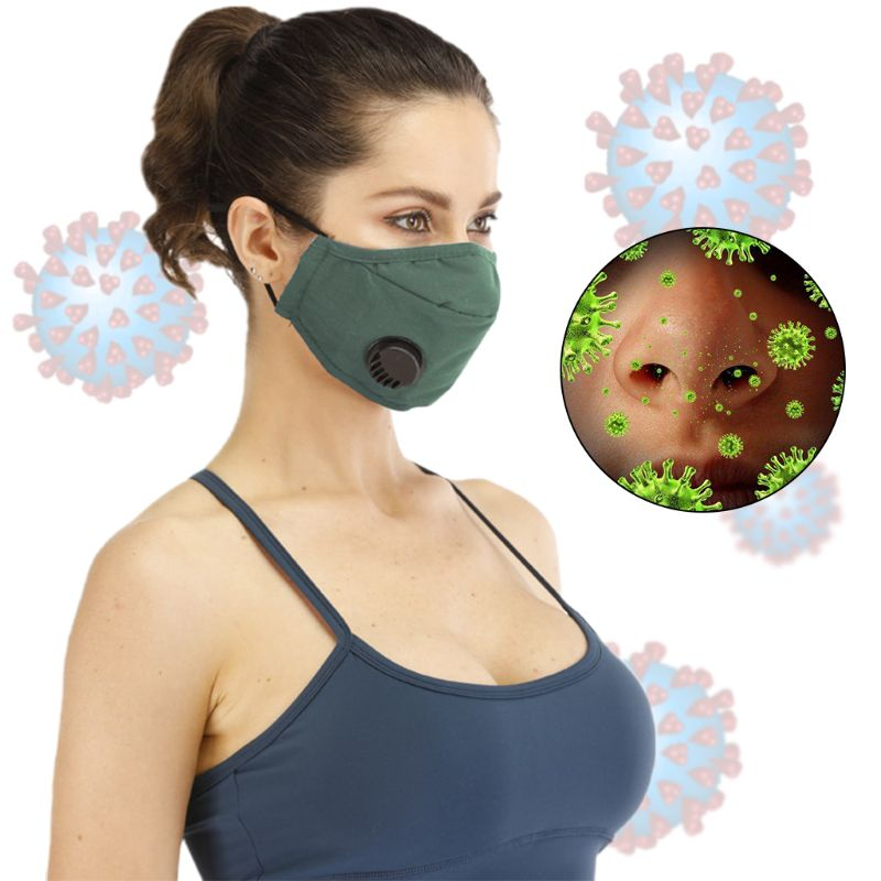 Women Men Dustproof Washable Cotton Mouth Mask With Breath Valve Replaceable 5 Layers PM2.5 Filter Anti Haze Face Cover
