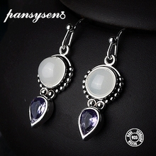 PANSYSEN Top Quality Created Moonstone 925 Silver Jewelry Drop Earrings For Women Vintage Fine Party Anniversary Gift Wholesale
