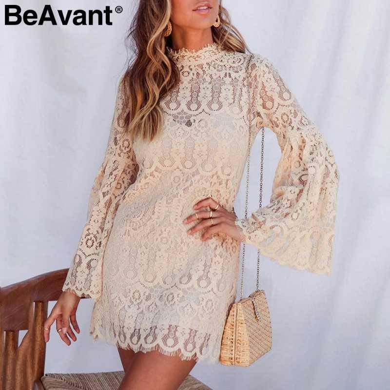 BeAvant сексуальное кружевное платье с вышивкой Женские Элегантные расширяющиеся к низу рукава женские Короткие вечерние платья гофрированные женские платья осенние платья