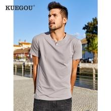 KUEGOU 2020 Summer Cotton Button Plain Black White T Shirt Men Tshirt Brand T shirt Short Sleeve Tee Shirt Plus Size Tops 15114