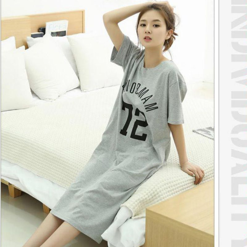Summer Women Casual Cotton Sleep Dress Letter Dot Striped Print Loose Long   Nightgown   Home O Neck Collar Short Sleeve Sleepdress
