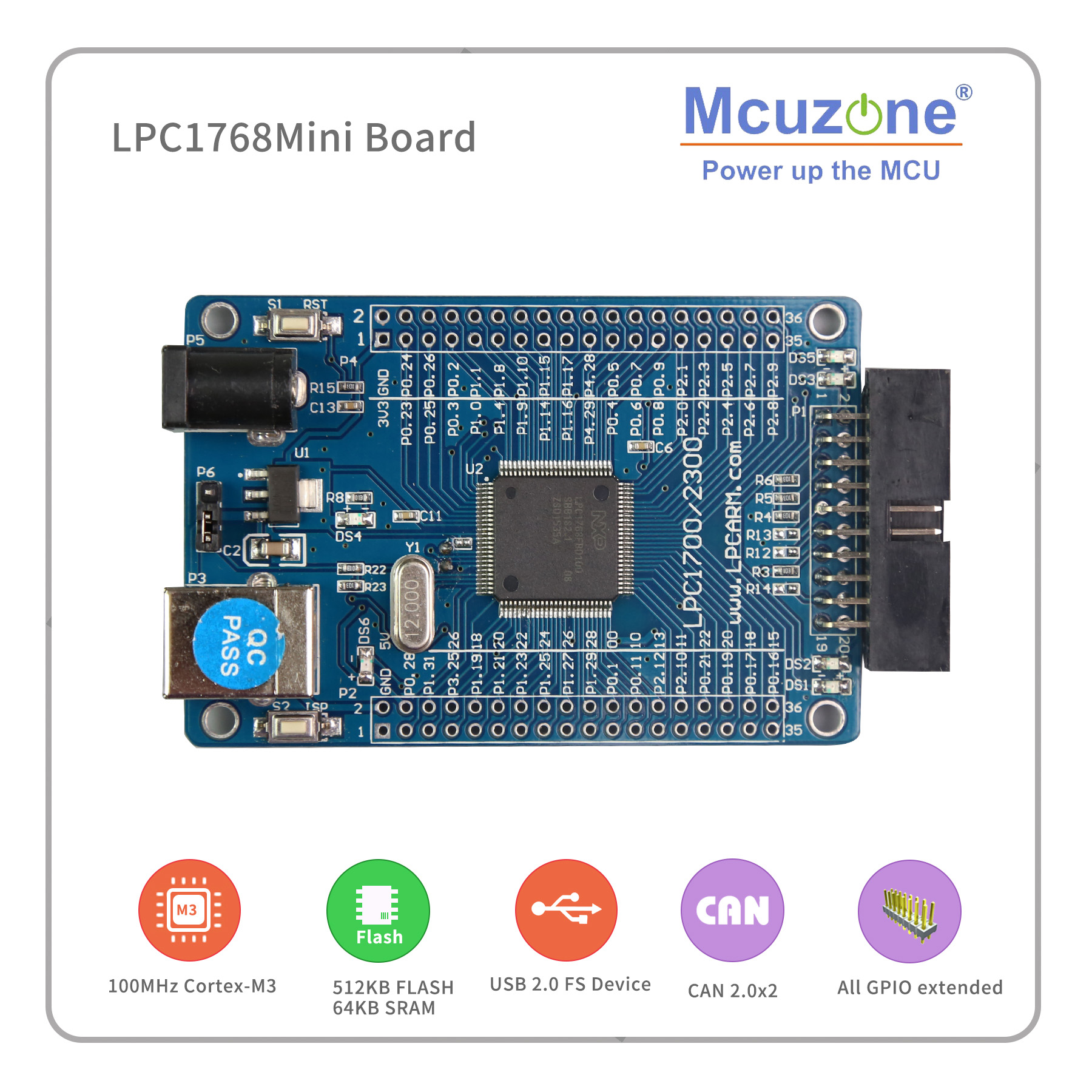 ADC 100 MHz - LPC1768 Mini board  100MHz Cortex-M3, USB, EMAC, UART, SPI, I2C, ADC, DAC, SD NXP GPIO