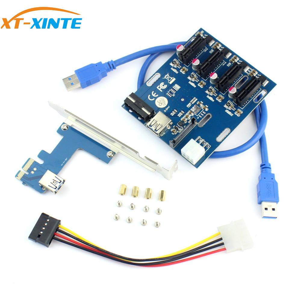 XT-XINTE PCIe 1 To 4 PCI Express 1X Slot Riser Card Mini ITX To External 4 PCI-e Adapter Port Multiplier Card For Miner BTC
