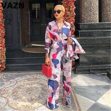 Vazn gymt19701 senhora do escritório estilo solto colorido v-neck impressão sexy 2019 conjunto de manga longa calça longa 2 peça conjuntos clube noite