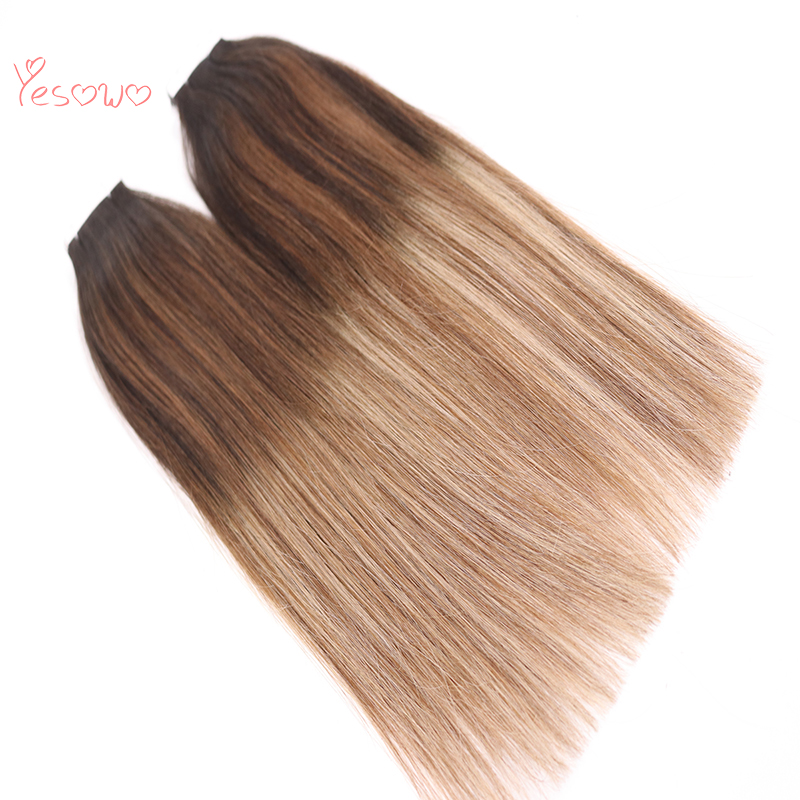 Yesowo 1b/6/27# PU Weft Double Drawn Thick End Ombre Balayage Color Tape In Hair Extensions Best Indian Remy Hair