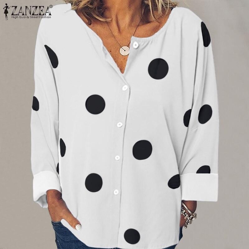 Women's Print Blouse ZANZEA 2020 Autumn Casual Long Sleeve Shirts Stylish Polka Blusas Female Button Down Tops Plus Size Tunic