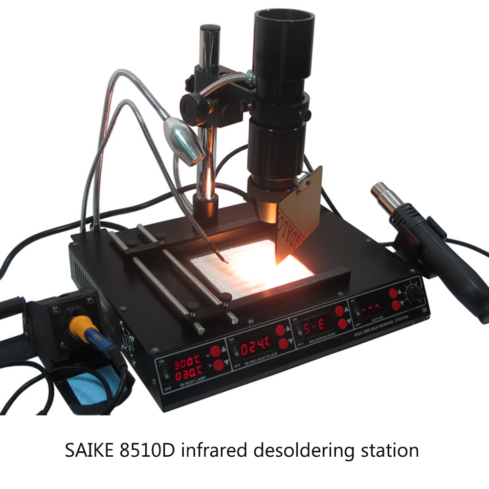 SAIKE 8510D Multi-function Infrared Hot Air Dismantling Welding Platform Universal Lighting Spotlight 5 In 1 Bga Rework Station