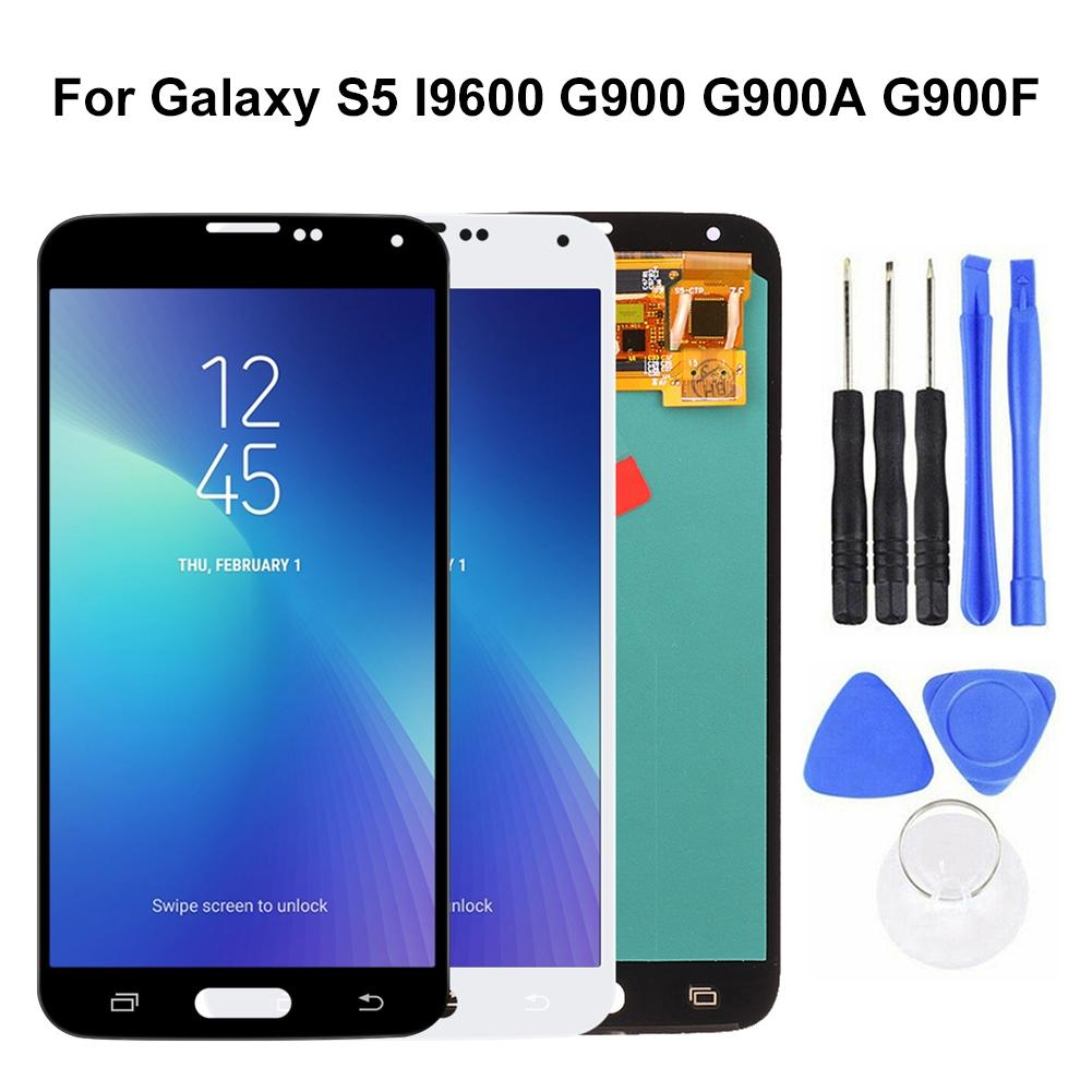 For <font><b>Samsung</b></font> Galaxy S5 I9600 G900 G900A <font><b>G900F</b></font> AMOLED LCD <font><b>Display</b></font> Touch Screen Digitizer Replacement Kit phone Accessoeries image